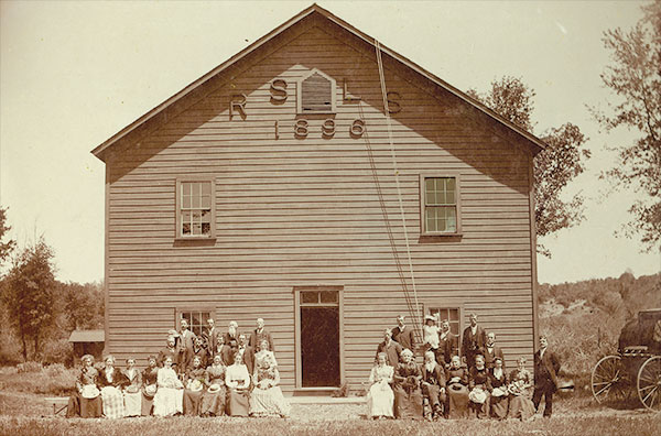 In 1894 the Rose Springs Literary Society was organized. Two years later they constructed this hall just across the road from the Rescue Post Office. In 1900 they had this group picture taken. It depicts an early who's who of Rescue. If you look just to the right of the hall, you can see Green Valley Road as it leaves Kelley Creek and nears the Wallace McBeath place.
